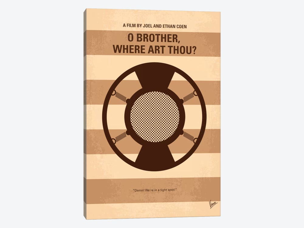 O' Brother Where Art Thou Minimal Movie Poster by Chungkong 1-piece Canvas Artwork