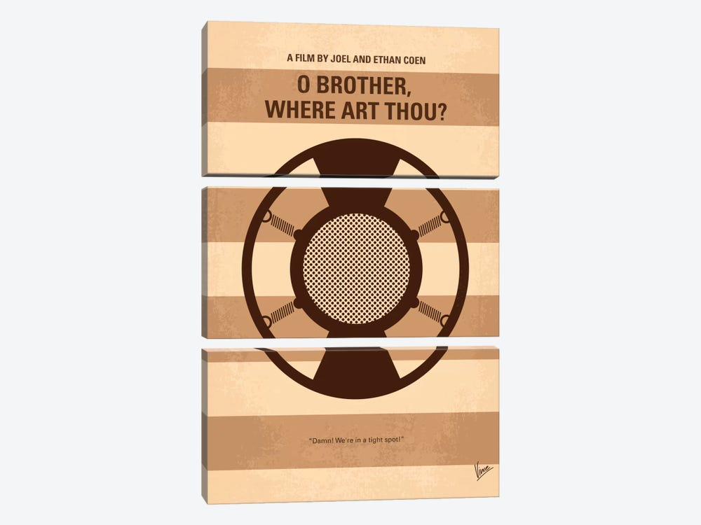 O' Brother Where Art Thou Minimal Movie Poster by Chungkong 3-piece Canvas Artwork