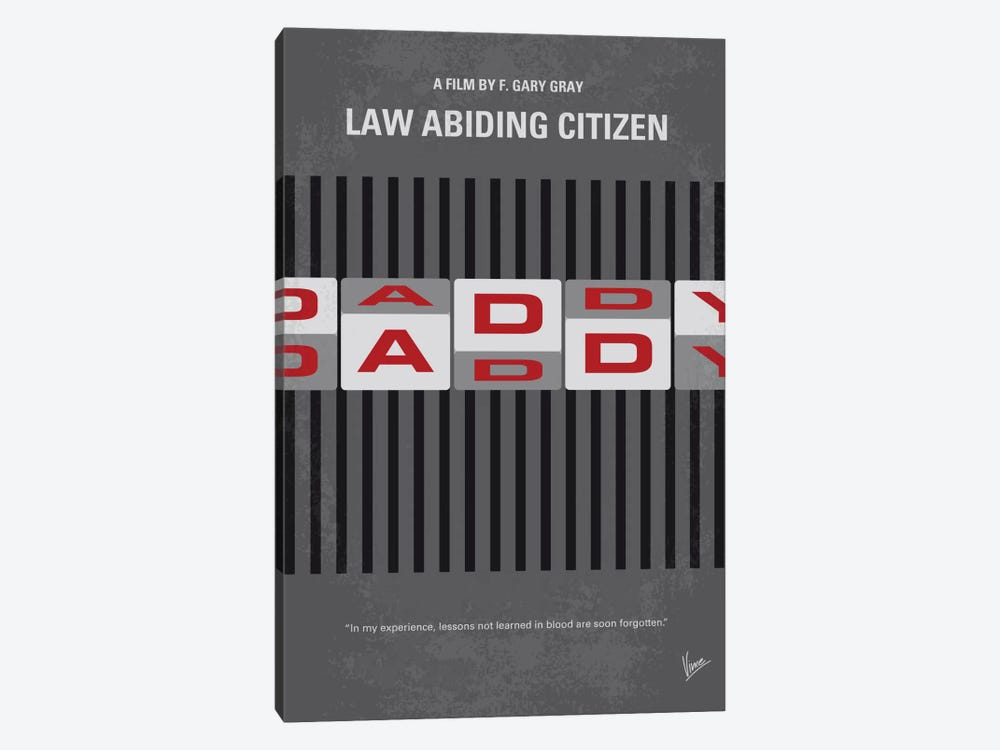 Law Abiding Citizen Minimal Movie Poster by Chungkong 1-piece Canvas Art Print