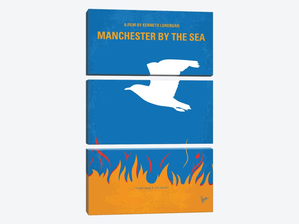 Manchester By The Sea Minimal Movie Poster by Chungkong 3-piece Canvas Print