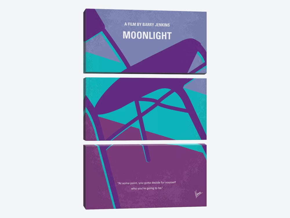 Moonlight Minimal Movie Poster by Chungkong 3-piece Canvas Art Print