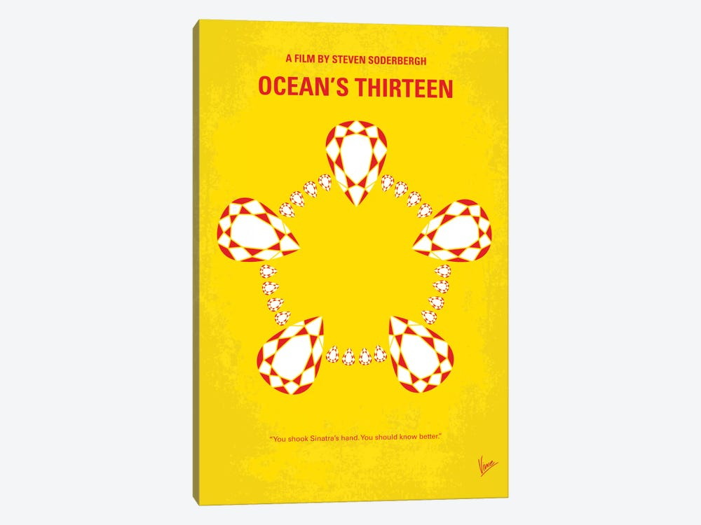 Ocean's Thirteen Minimal Movie Poster by Chungkong 1-piece Canvas Wall Art