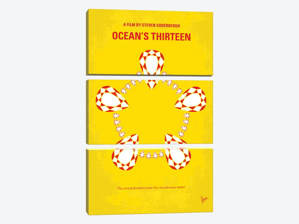 Ocean's Thirteen Minimal Movie Poster by Chungkong 3-piece Canvas Wall Art