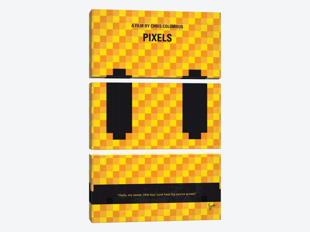 Pixels Minimal Movie Poster by Chungkong 3-piece Canvas Print