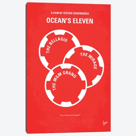 Ocean's Eleven Minimal Movie Poster Canvas Print #CKG73} by Chungkong Canvas Wall Art