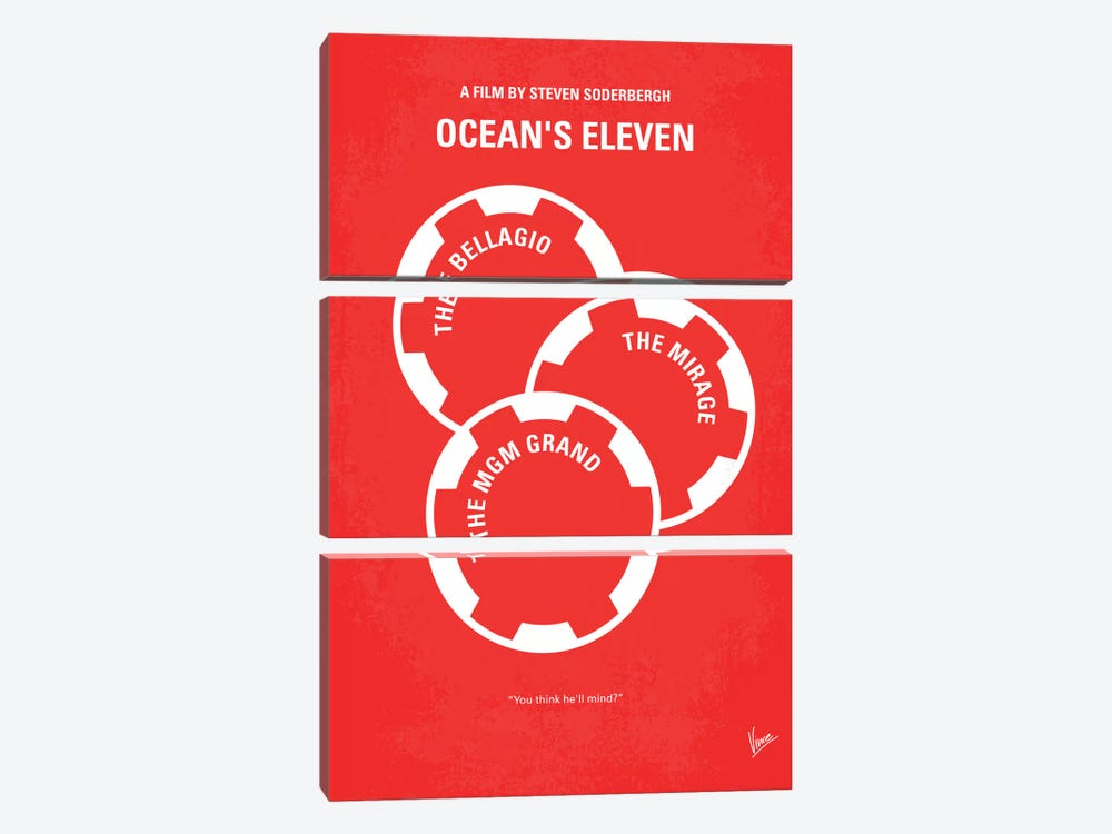 Ocean's Eleven Minimal Movie Poster by Chungkong 3-piece Canvas Print