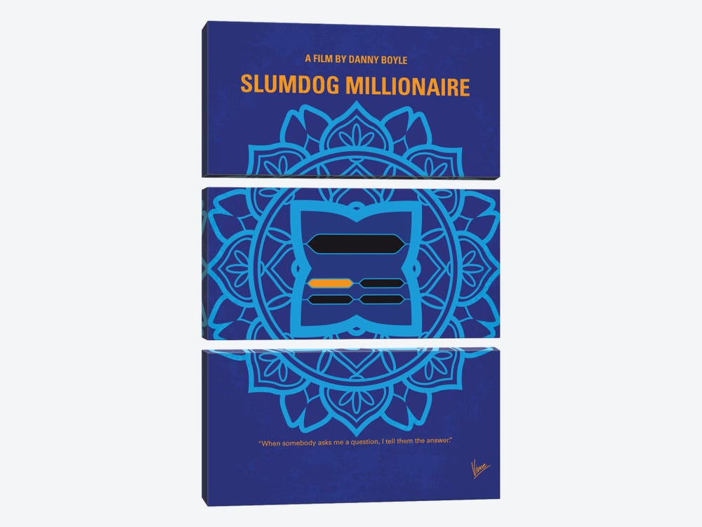 Slumdog Millionaire Minimal Movie Poster by Chungkong 3-piece Canvas Art