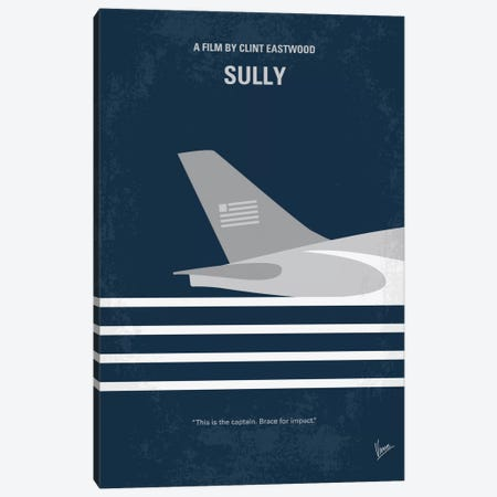 Sully: Miracle On The Hudson Minimal Movie Poster Canvas Print #CKG746} by Chungkong Canvas Art Print
