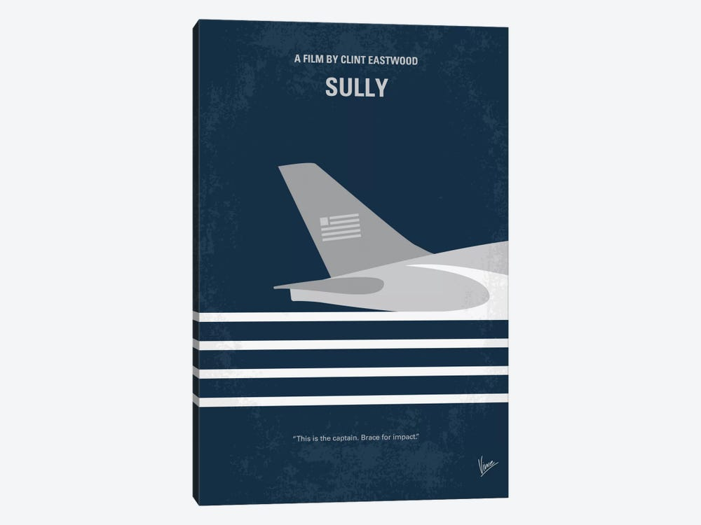 Sully: Miracle On The Hudson Minimal Movie Poster by Chungkong 1-piece Canvas Wall Art
