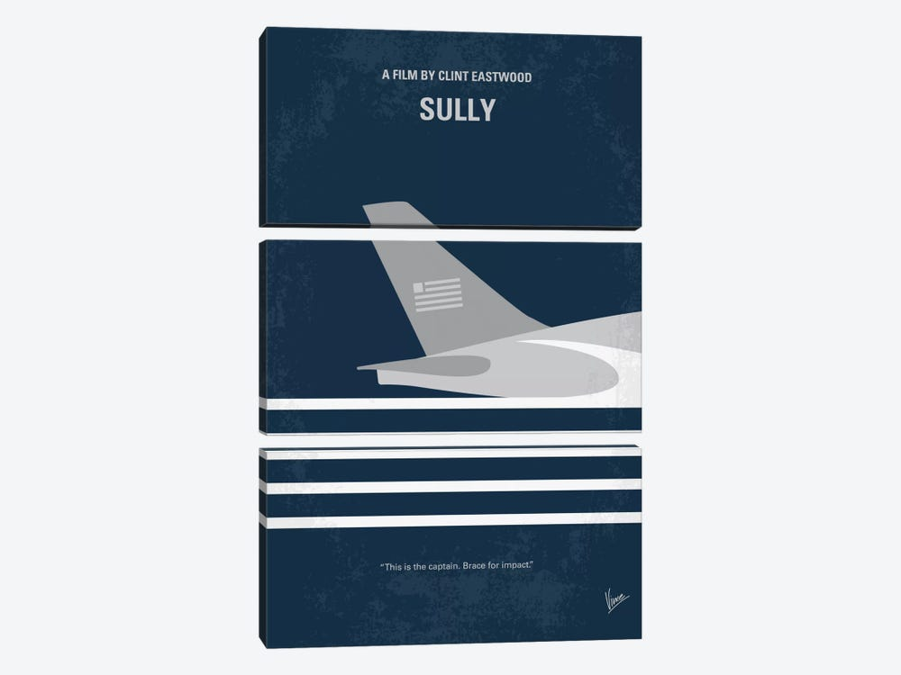 Sully: Miracle On The Hudson Minimal Movie Poster by Chungkong 3-piece Canvas Art