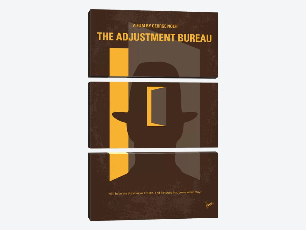 the adjustment bureau minimal movie poster canvas chungkong icanvas. Black Bedroom Furniture Sets. Home Design Ideas