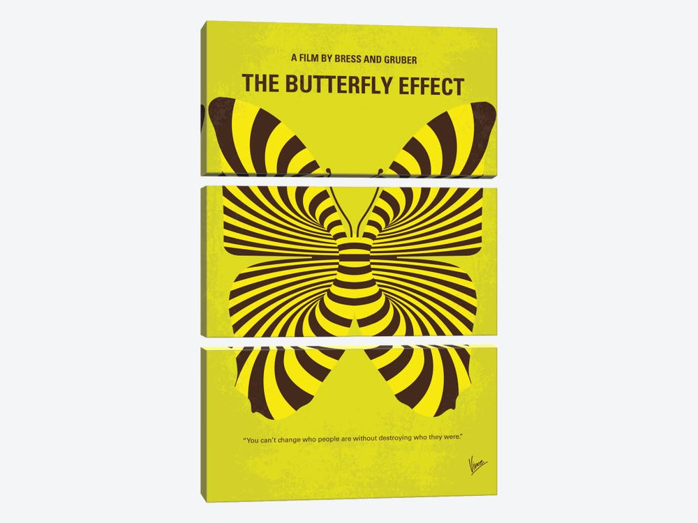 The Butterfly Effect Minimal Movie Poster by Chungkong 3-piece Canvas Print