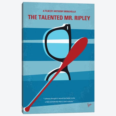 The Talented Mr. Ripley Minimal Movie Poster Canvas Print #CKG753} by Chungkong Canvas Art Print