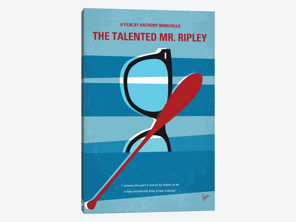 The Talented Mr. Ripley Minimal Movie Poster by Chungkong 1-piece Canvas Wall Art