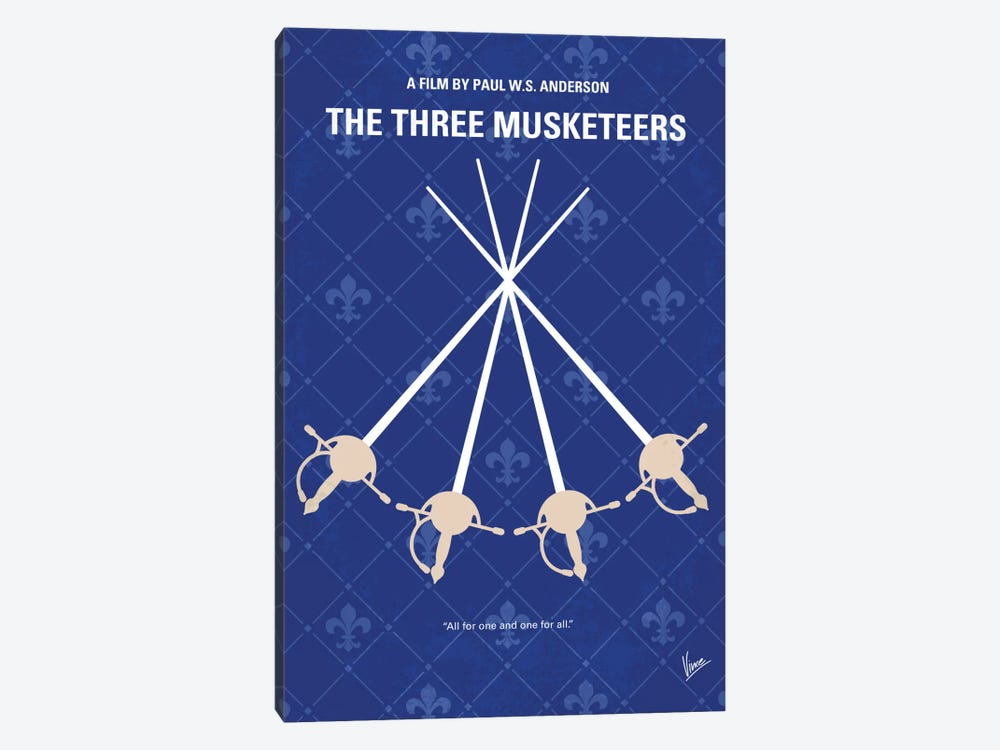 The Three Musketeers Minimal Movie Poster by Chungkong 1-piece Canvas Art Print
