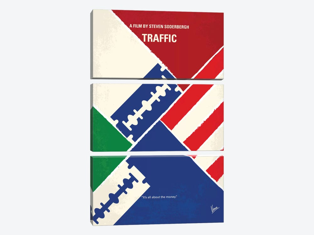 Traffic Minimal Movie Poster by Chungkong 3-piece Canvas Print