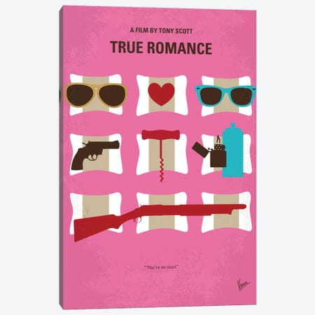 True Romance Minimal Movie Poster Canvas Print #CKG757} by Chungkong Canvas Art