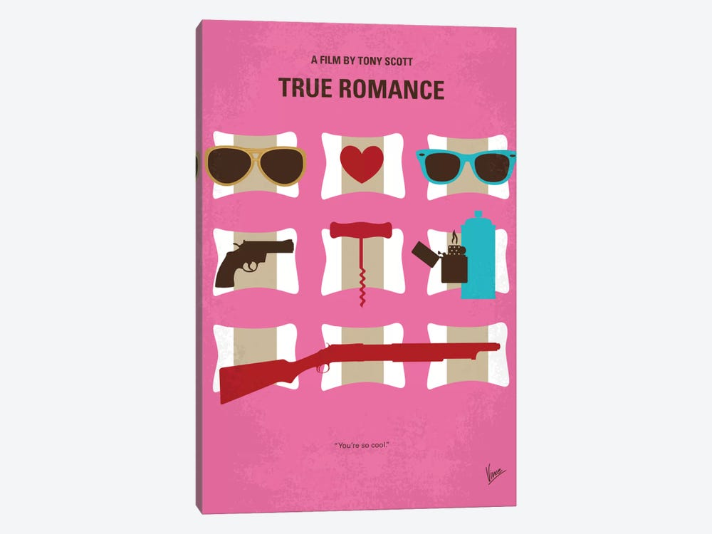 True Romance Minimal Movie Poster by Chungkong 1-piece Canvas Wall Art
