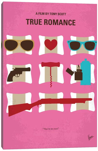 True Romance Minimal Movie Poster Canvas Art Print