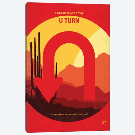 U Turn Minimal Movie Poster Canvas Print #CKG758} by Chungkong Art Print