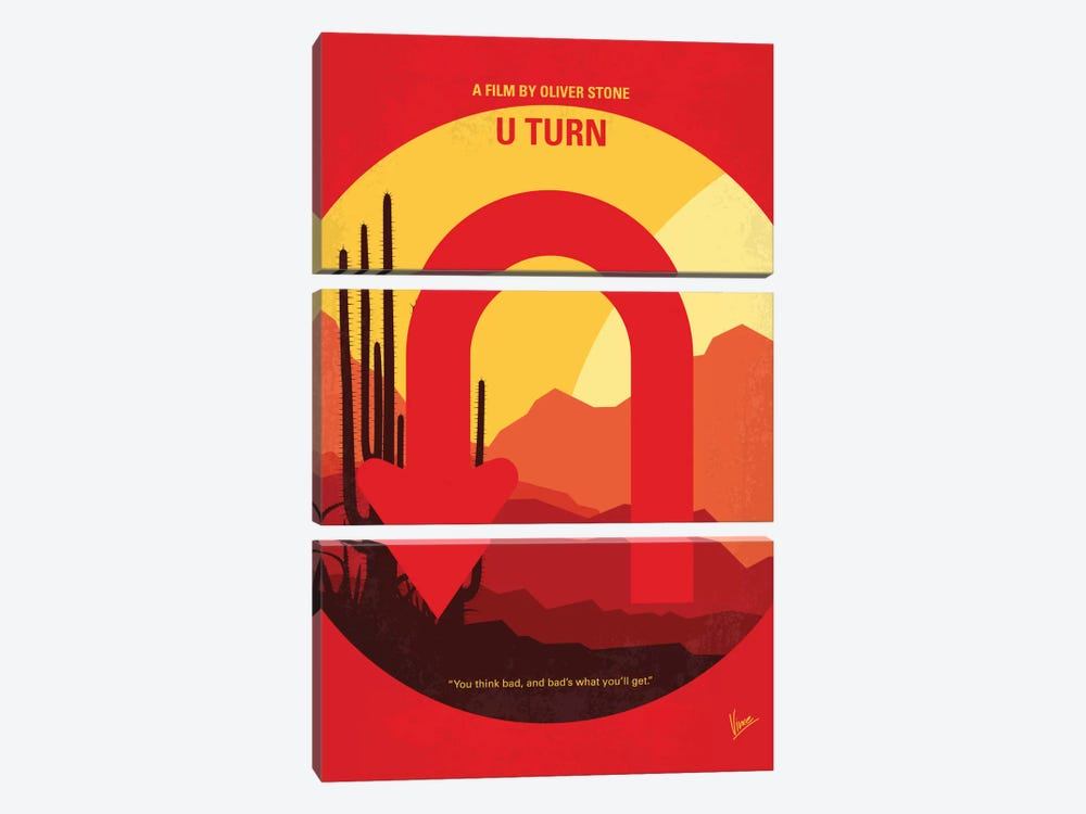 U Turn Minimal Movie Poster 3-piece Canvas Art Print