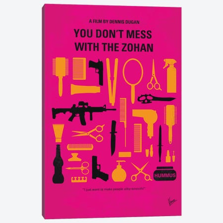 You Don't Mess With The Zohan Minimal Movie Poster 3-Piece Canvas #CKG760} by Chungkong Canvas Wall Art