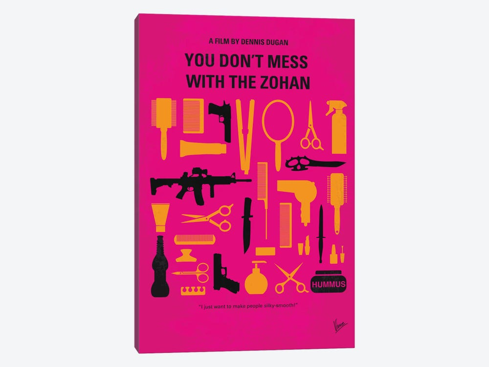 You Don't Mess With The Zohan Minimal Movie Poster by Chungkong 1-piece Canvas Wall Art
