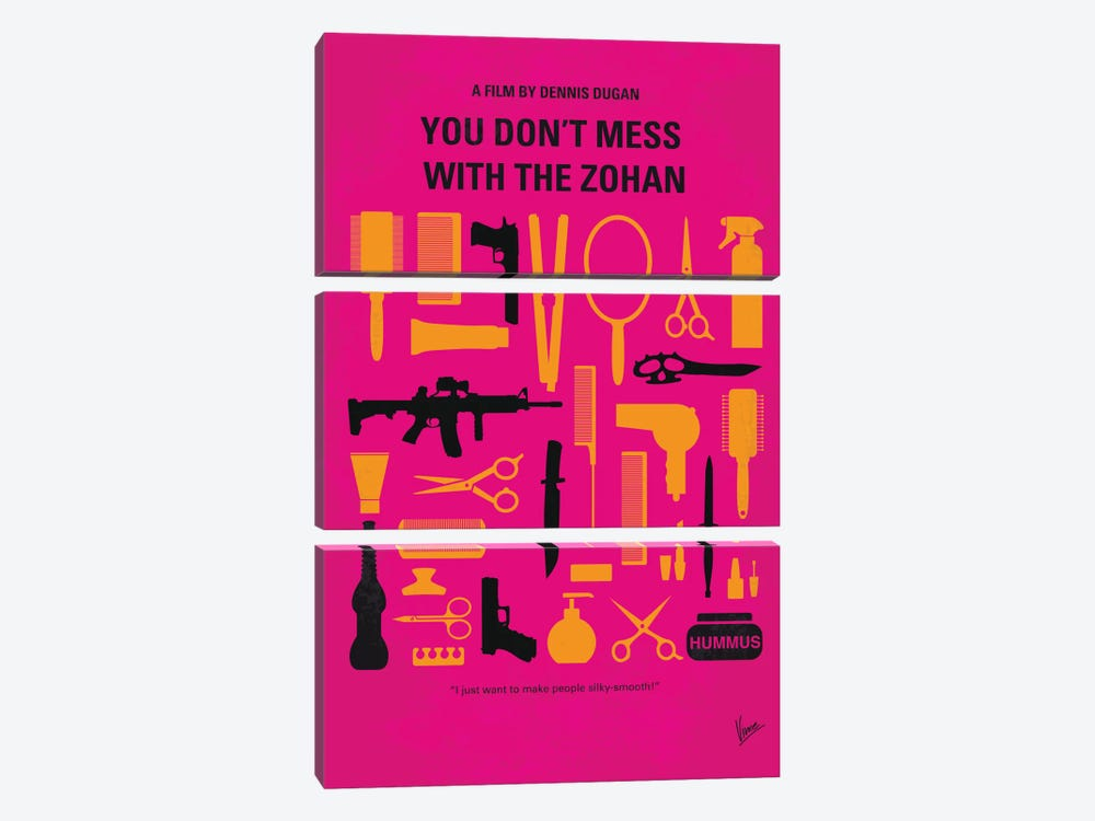 You Don't Mess With The Zohan Minimal Movie Poster by Chungkong 3-piece Canvas Art