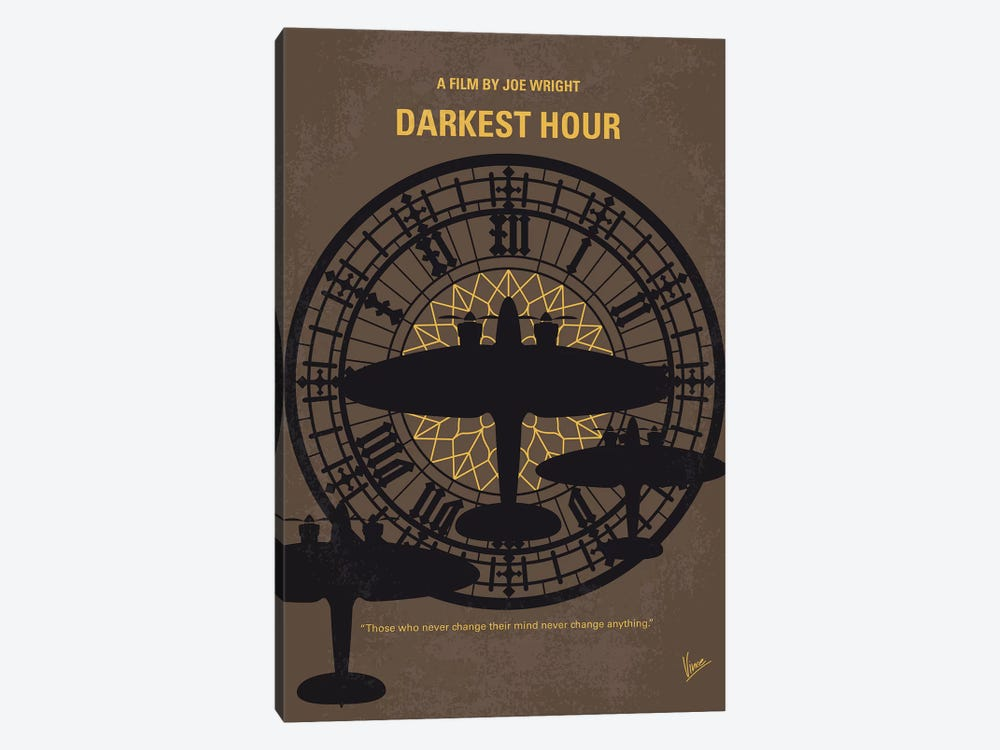 Darkest Hour Minimal Movie Poster by Chungkong 1-piece Canvas Artwork