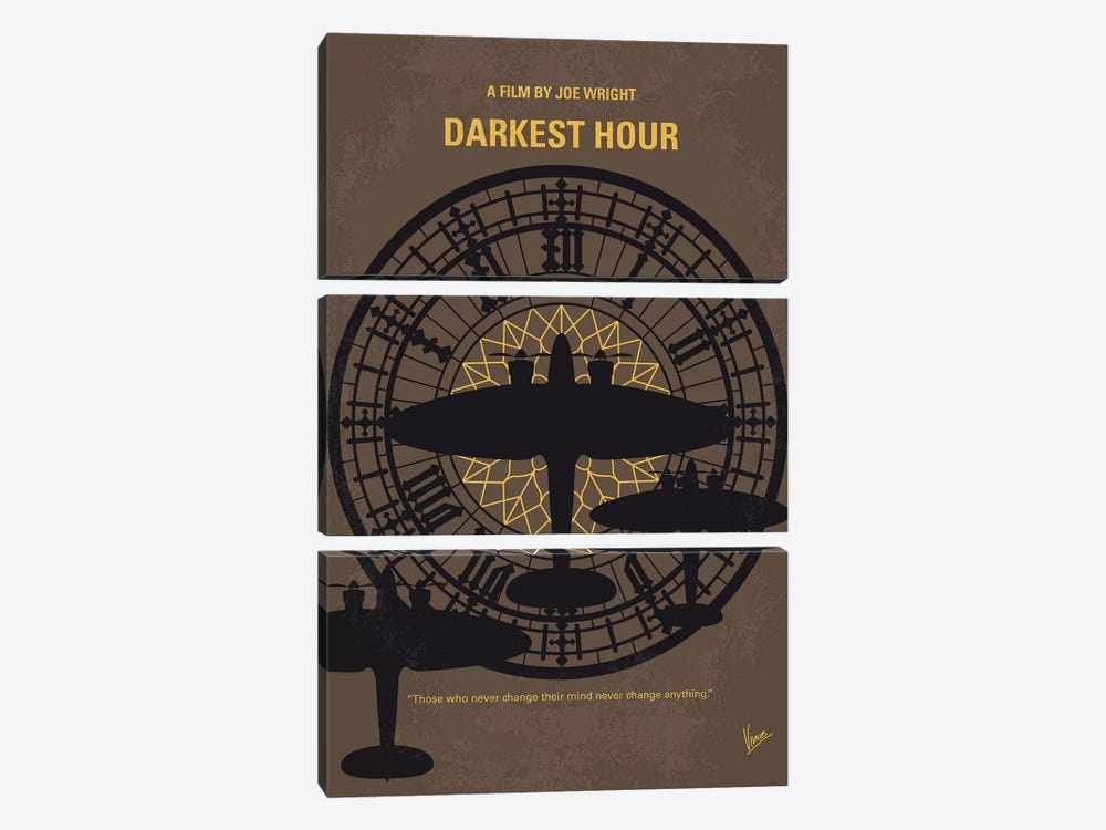 Darkest Hour Minimal Movie Poster by Chungkong 3-piece Canvas Art