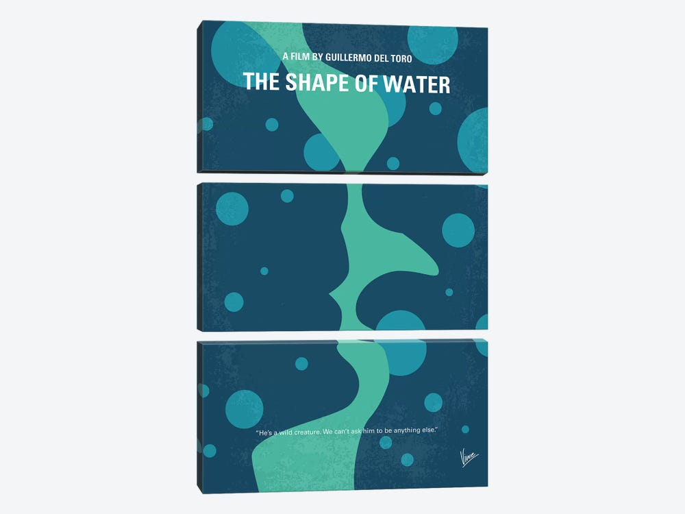 The Shape of Water Minimal Movie Poster by Chungkong 3-piece Canvas Art Print