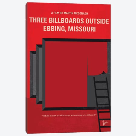 Three Billboards Minimal Movie Poster Canvas Print #CKG768} by Chungkong Canvas Art