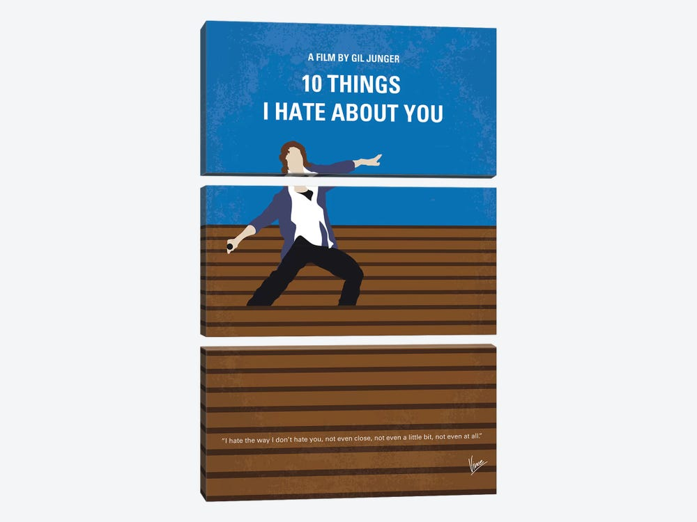 10 Things I Hate About You Minimal Movie Poster by Chungkong 3-piece Canvas Print