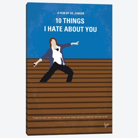 10 Things I Hate About You Minimal Movie Poster Canvas Print #CKG769} by Chungkong Canvas Artwork