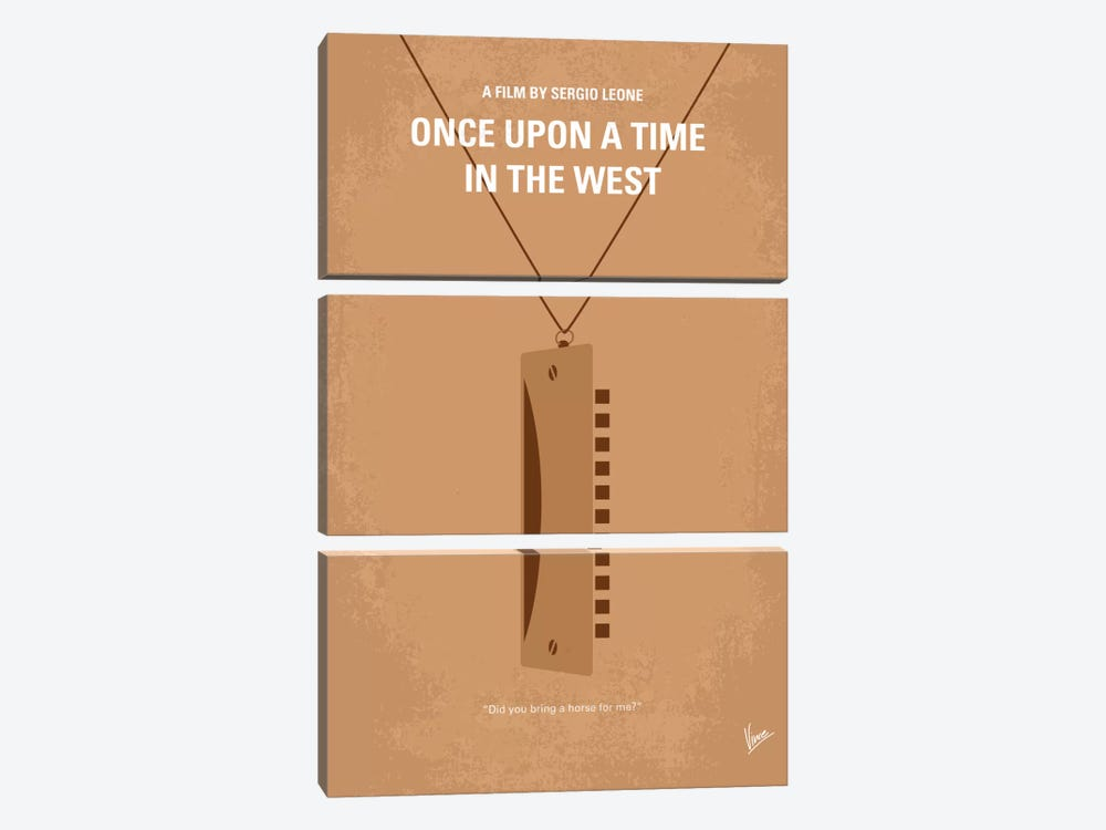 Once Upon A Time In The West Minimal Movie Poster by Chungkong 3-piece Canvas Wall Art