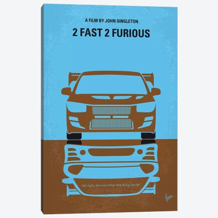 2 Fast 2 Furious Minimal Movie Poster Canvas Print #CKG778} by Chungkong Canvas Art Print