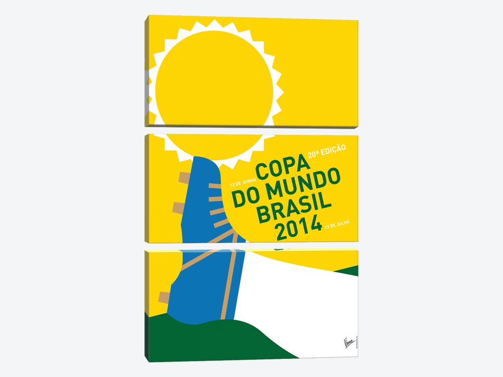 2014 World Cup Soccer Brazil Rio Minimal Poster by Chungkong 3-piece Canvas Art
