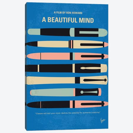 A Beautiful Mind Minimal Movie Poster Canvas Print #CKG783} by Chungkong Canvas Art