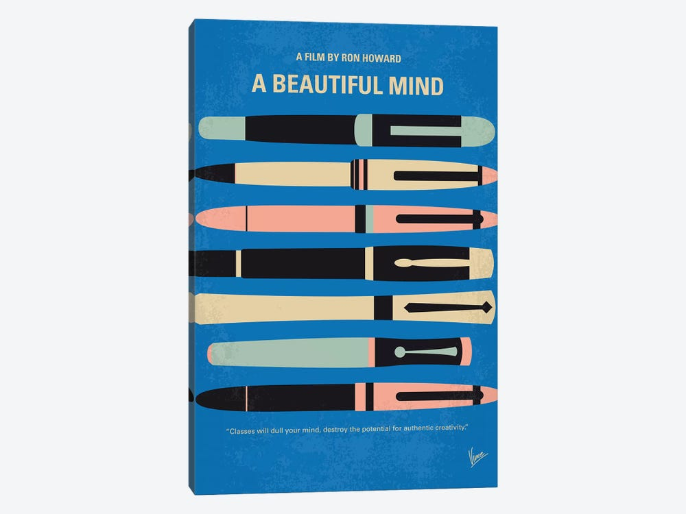 A Beautiful Mind Minimal Movie Poster by Chungkong 1-piece Canvas Print