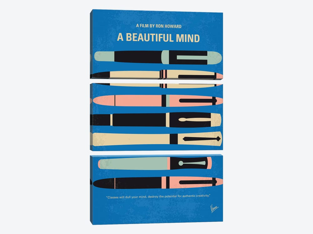 A Beautiful Mind Minimal Movie Poster by Chungkong 3-piece Canvas Art Print