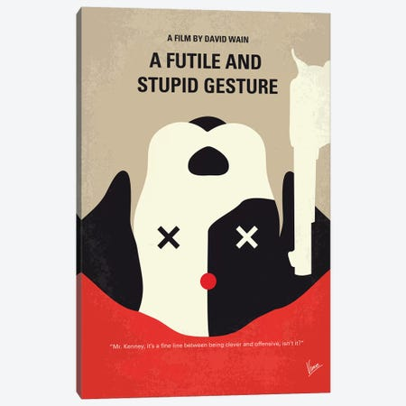 A Futile And Stupid Gesture Minimal Movie Poster Canvas Print #CKG784} by Chungkong Art Print