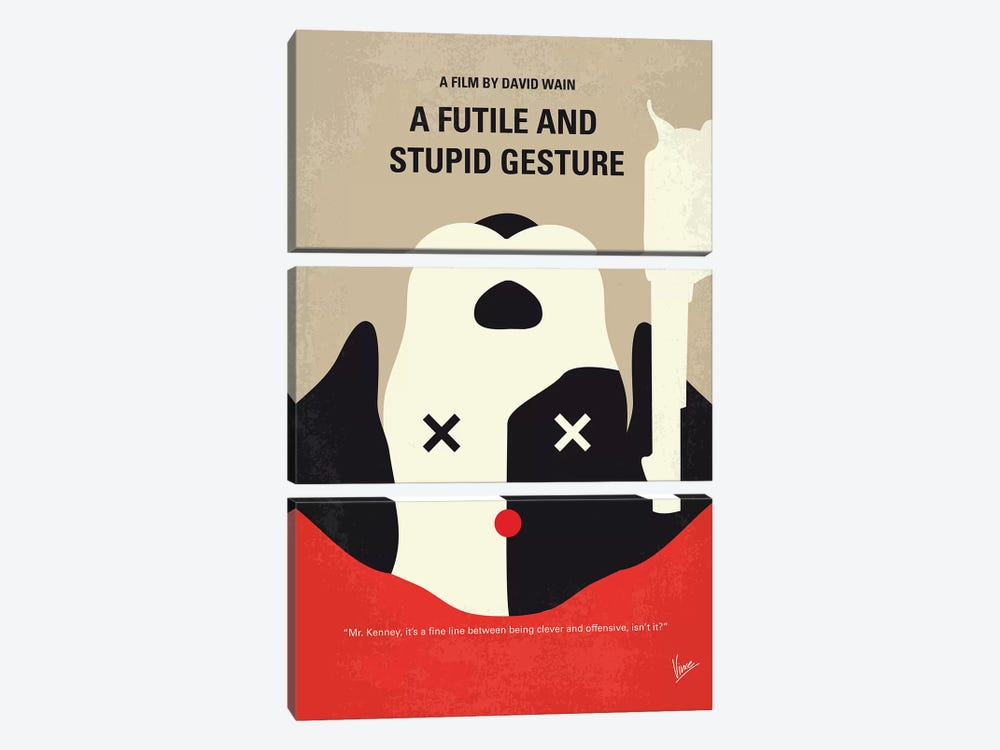 A Futile And Stupid Gesture Minimal Movie Poster by Chungkong 3-piece Canvas Artwork