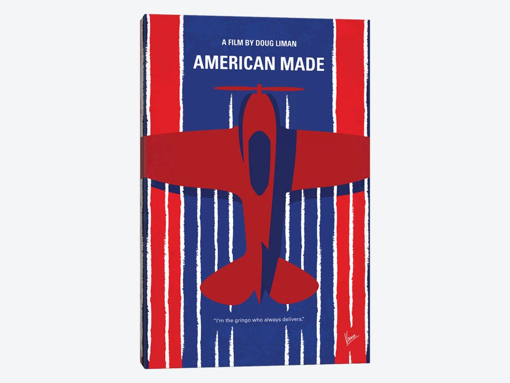 American Made Minimal Movie Poster by Chungkong 1-piece Canvas Art Print