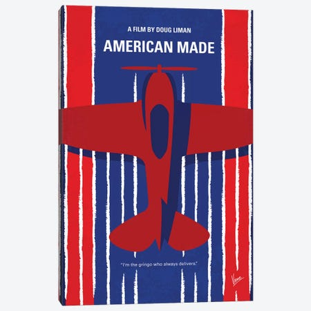 American Made Minimal Movie Poster 3-Piece Canvas #CKG789} by Chungkong Canvas Art