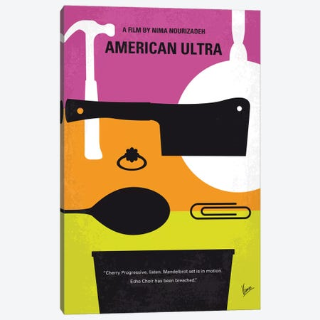 American Ultra Minimal Movie Poster Canvas Print #CKG790} by Chungkong Art Print