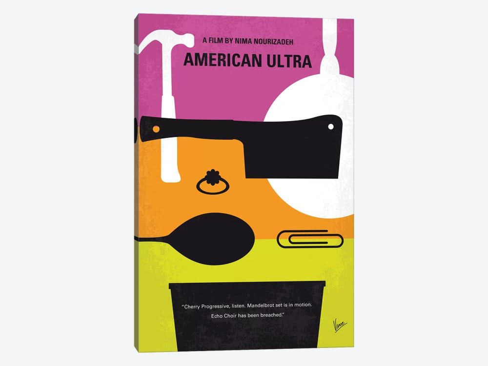 American Ultra Minimal Movie Poster by Chungkong 1-piece Canvas Art Print