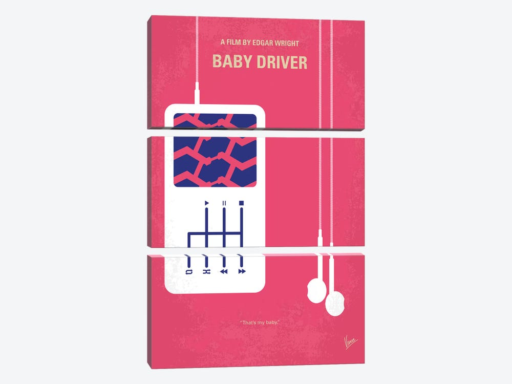 Baby Driver Minimal Movie Poster by Chungkong 3-piece Canvas Art Print