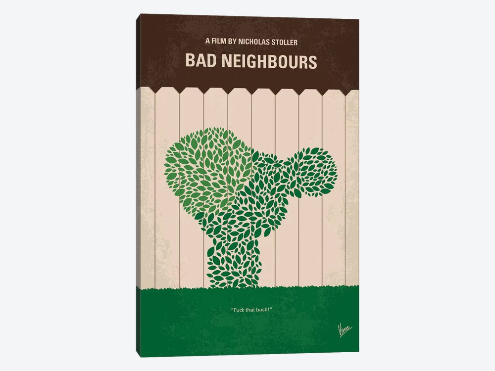 Bad Neighbours Minimal Movie Poster by Chungkong 1-piece Canvas Artwork