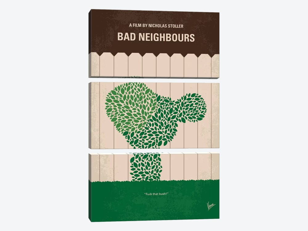 Bad Neighbours Minimal Movie Poster 3-piece Canvas Artwork