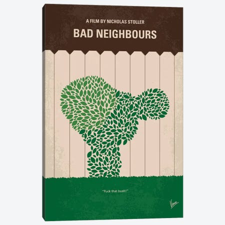 Bad Neighbours Minimal Movie Poster 3-Piece Canvas #CKG795} by Chungkong Canvas Art